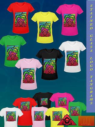 Stained Glass Logo Tangrams V-Neck Ladies' Art T-Shirt (Gildan)