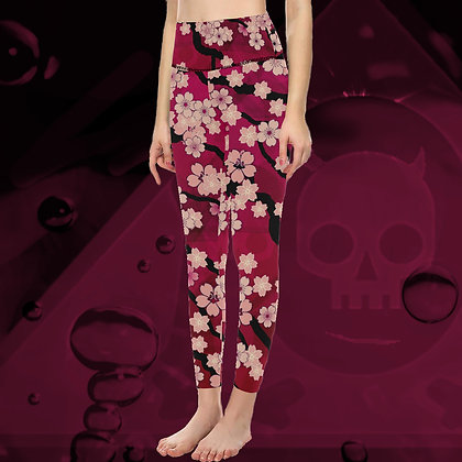 The Lowest of Low Sakura Breeze All Over Print High Waist Compression Leggings yoga fitness gym chill Tahiti Sunset
