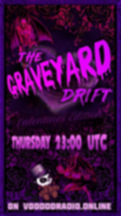 Graveyard Drift Voodoo Radio show Valentine's Day devil gothic heart dark black lace promo image The Lowest of Low podcast