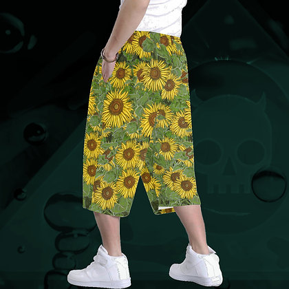 The Lowest of Low Sunflower Field All-Over Print Baggy Shorts ultimate comfort roomy style back