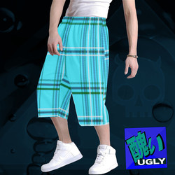 UGLY tartan long baggy shorts The Lowest of Low Acqua