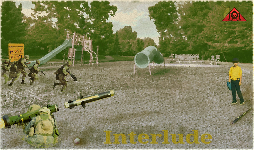 The Lowest of Low Interlude Lyrics Sheet Empire album music playground suburban warfare war zone swingset army missile launcher art image
