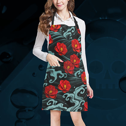 The Lowest of Low all-over print floral apron cooking kitchen garden crafts painting mucky jobs adjustable Kurosawa Camellia