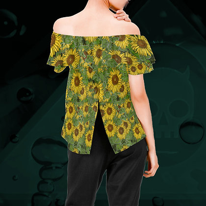 The Lowest of Low Sunflower Field off-shoulder ruffle top floofy blouse summery all-over yellow green floral pattern back