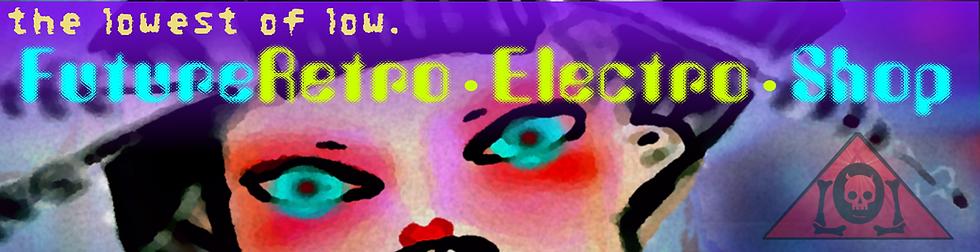 The Lowest of Low FutureRetro Electro Shop Splash banner DEUS AI geisha sexbot blue eyes