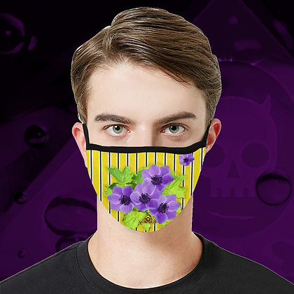 The Lowest of Low Anemone Zoot floral Face Mask fully washable reuseable cool design 3 sizes yellow
