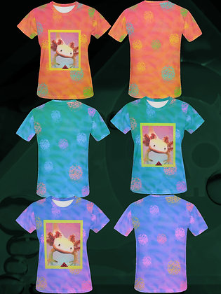 Axolotl Friend Deluxe Lady Style All Over Print T-shirts (all colors) from The Lowest of Low