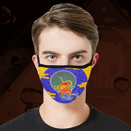 The Lowest of Low Angry Octopus Face Mask fully washable reuseable cool design 3 sizes 5 colours Yellow