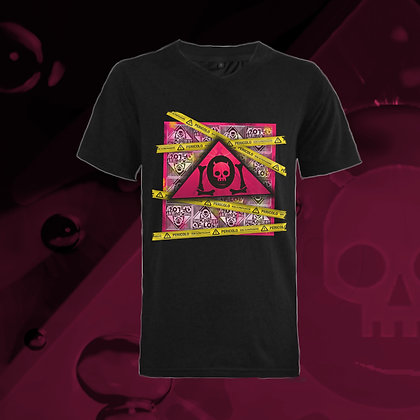The Lowest of Low Pericolo Danger 100% ringspun cotton v-neck t-shirts Nero Black hazard tape triangle logo