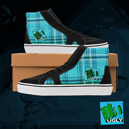 Original UGLY Tartan Plaid High Top Skate Skateboarding Casual Shoes All Gender The Lowest of Low