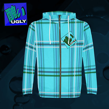 UGLY All-Over Print zipped hoodie hooded jacket warm comfort roomy style tartan plaid Acqua blue The Lowest of Low front