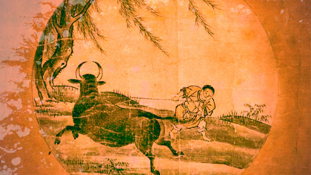 Rinzai School Zen Buddhism Ten Oxherding Pictures :  4. Catching The Ox