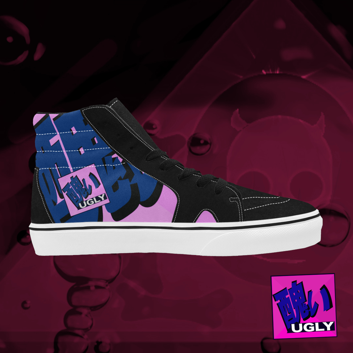 UGLY logo high top skate shoes The Lowest of Low Bubblegum