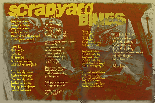 Scrapyard Blues Lyrics The Lowest of Low song album Mecha Robot Future WOW storytelling science fiction blues electronic funk experimental music science fiction dystopia