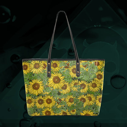 The Lowest of Low Sunflower Field Gigantic PU Leather ecopelle tote bag premium quality sturdy and huge