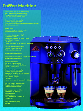Coffee Machine Lyrics The Lowest of Low song Mecha Robot Future WOW album science fiction story dystopian music sinister artificia intelligence domestic servant piercing green eyes