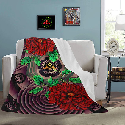 The Lowest of Low snuggly, edgy, elegant Peony pattern skull triangle logo fleece blanket
