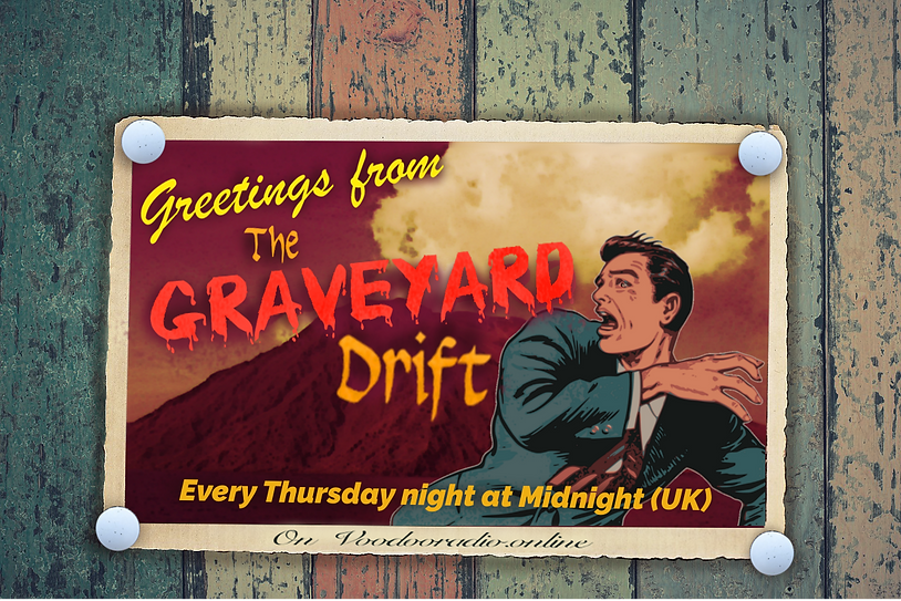 Graveyard Drift Postcard Stromboli Volcano Adventure Holiday Voodoo radio 1950s style picture postcard The Lowest of Low podcast