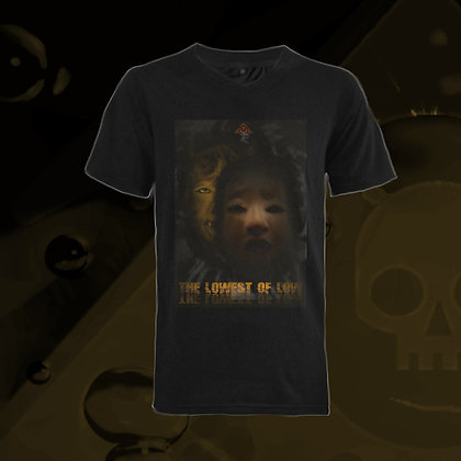 The Lowest of Low Nekrololikon Half-Human 100% Cotton ringspun v-neck t-shirt nero black Japanese Noh masks design
