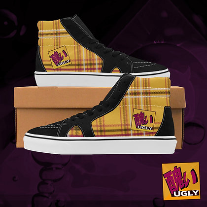 Tang Orange UGLY Tartan Plaid High Top Skate Skateboarding Casual Shoes All Gender The Lowest of Low