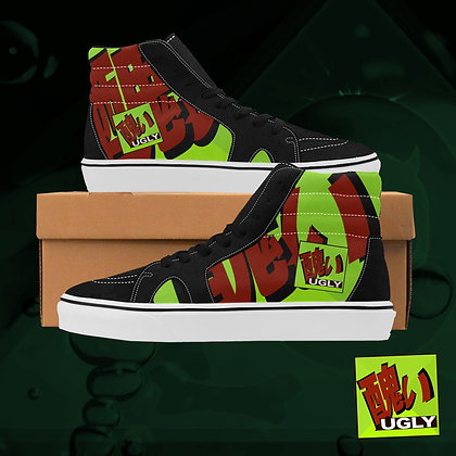Lime UGLY Logo Plaid High Top Skate Skateboarding Casual Shoes All Gender The Lowest of Low
