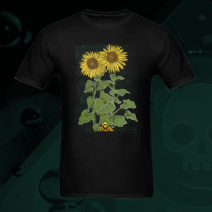 The Lowest of Low Sunflowers 100% Cotton T-shirt US Sizes S, M, L, XL, 2XL, 3XL vibrant yellow green summery colors front