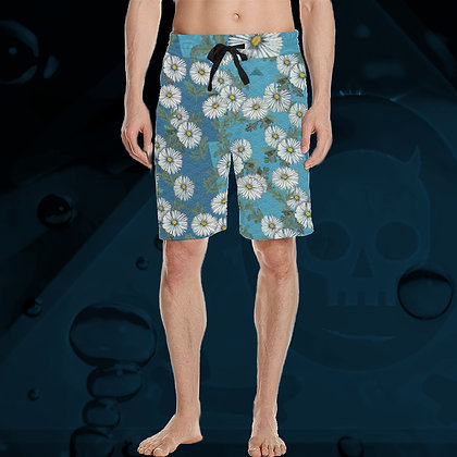 The Lowest of Low Daisies All Over Print Long Shorts 5 Colours beach leisure swim surf drawstring Acquamarino