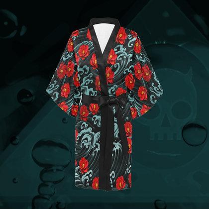 The Lowest of Low Kurosawa Camellias Kimono Haori wrap dress wrap jacket robe all-over print