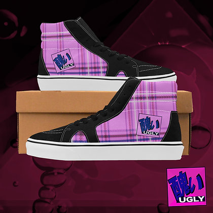 Bubblegum Pink UGLY Tartan Plaid High Top Skate Skateboarding Casual Shoes All Gender The Lowest of Low