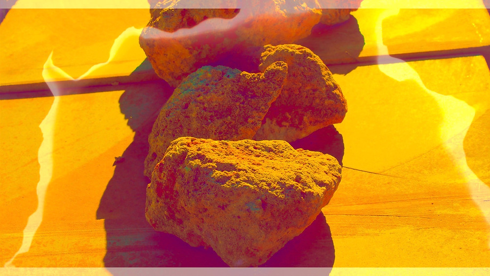 colorful yellow and fuchsia psychedelic rocks sandstone volcanic