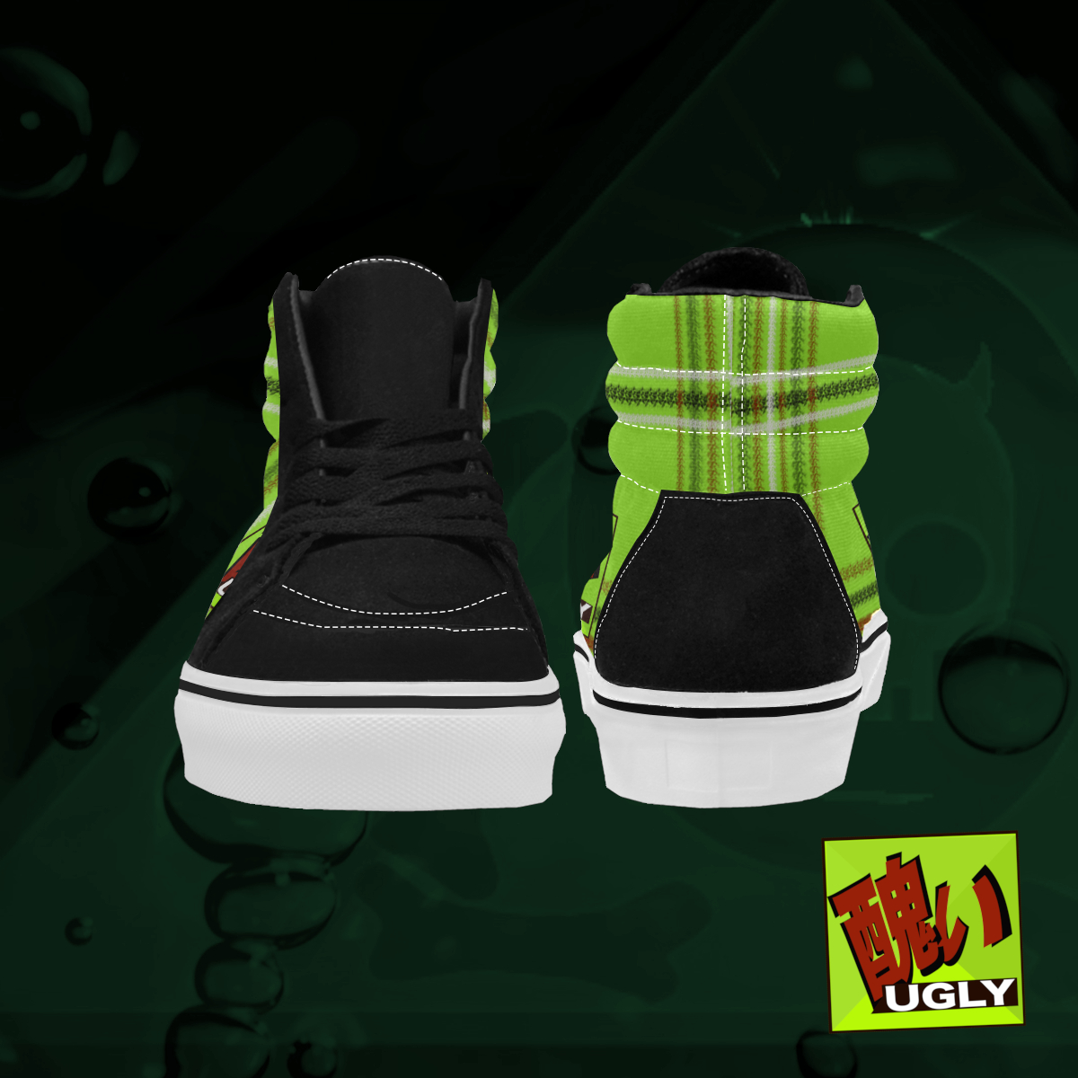 UGLY tartan high top skate shoes The Lowest of Low Lime