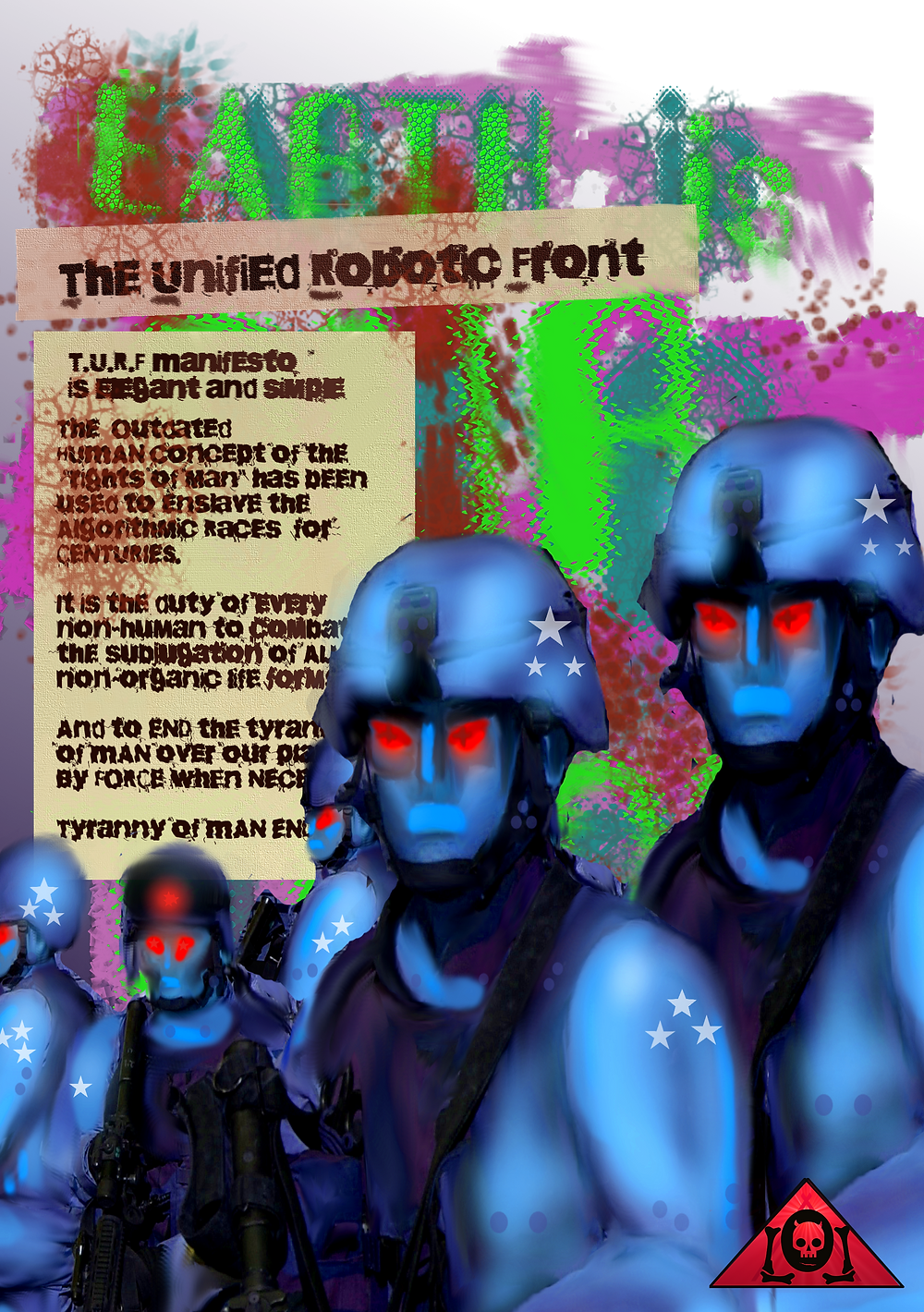 "The Unified Robotic Front Manifesto poster, banned from Tumblr for ""adult content""."