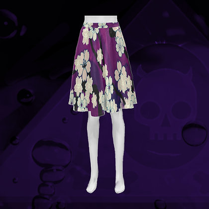 "The Lowest of Low Sakura Breeze ""Athena"" Flared Skirt floral elegant summer style chill violet"
