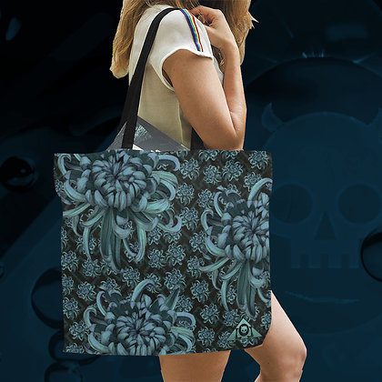 Blue Chrysanthemum Large canvas tote bag reusable eco washable shopping beach school gym laundry floral The Lowest of Low