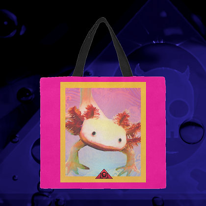 The Lowest of Low designer Axolotl Friend pink LARGE big reusable canvas shopping / carry / beach bags eco-friendly sturdy
