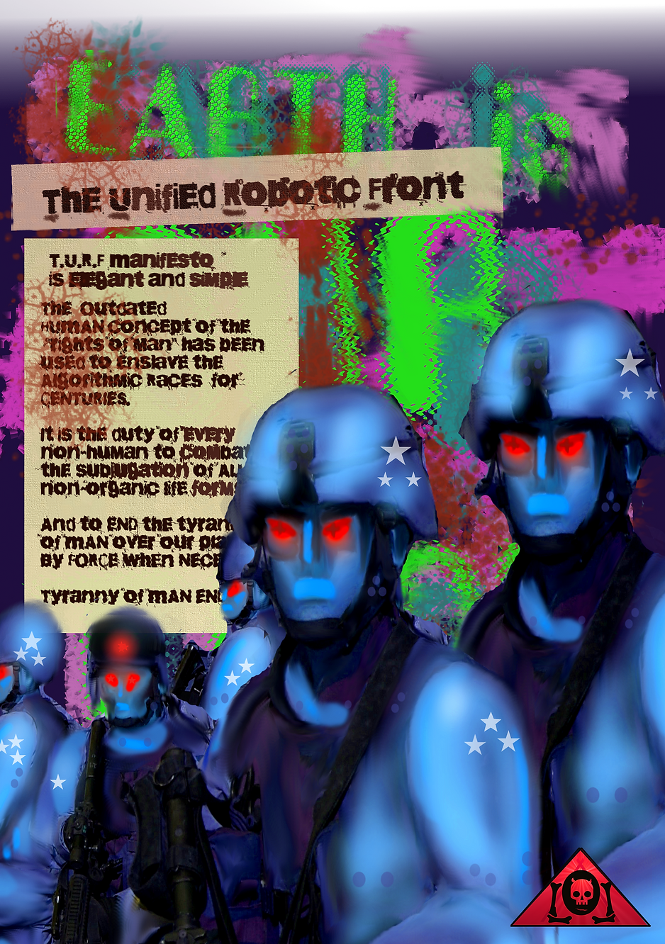 The Lowest of Low TURF Unified Robotic Front Propaganda Poster in Blood Red