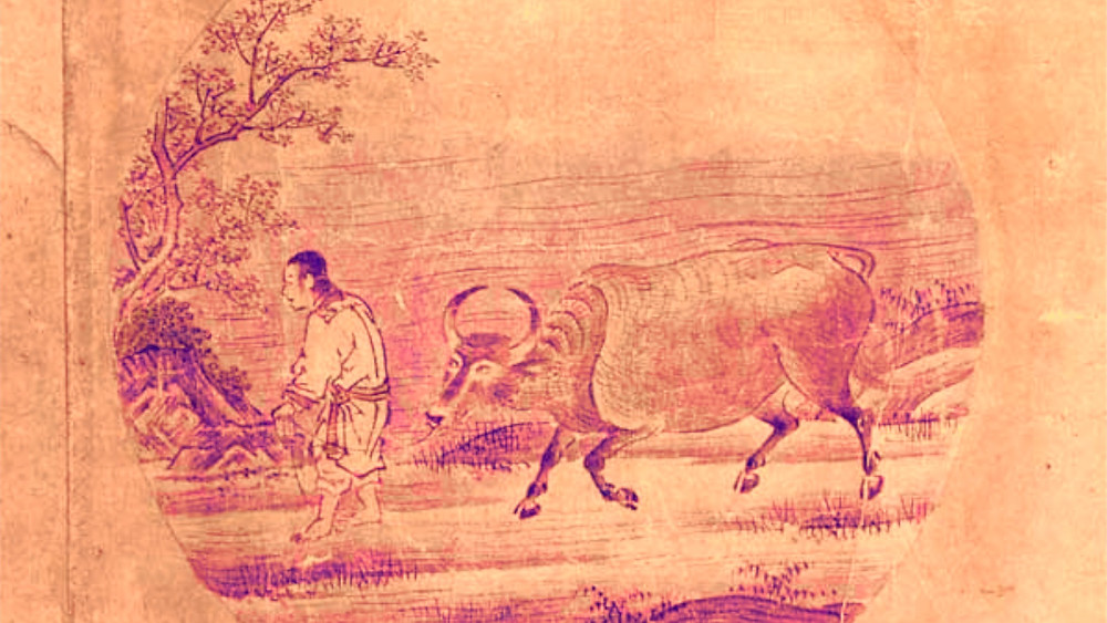 Rinzai School Zen Buddhism Ten Oxherding Pictures :  5. Herding The Ox