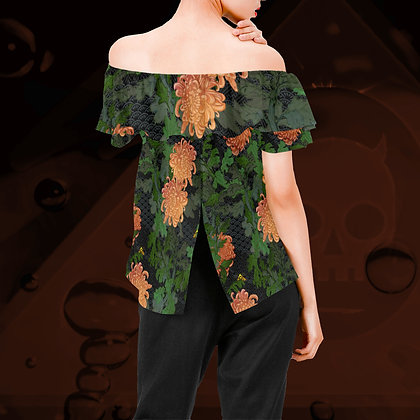 The Lowest of Low Chrysanthemum 2020 off-shoulder ruffle blouse floof top elegant comfortable stylish vibrant and fun