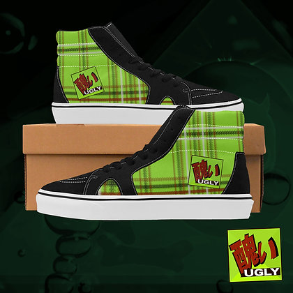 Lime UGLY Tartan Plaid High Top Skate Skateboarding Casual Shoes All Gender The Lowest of Low