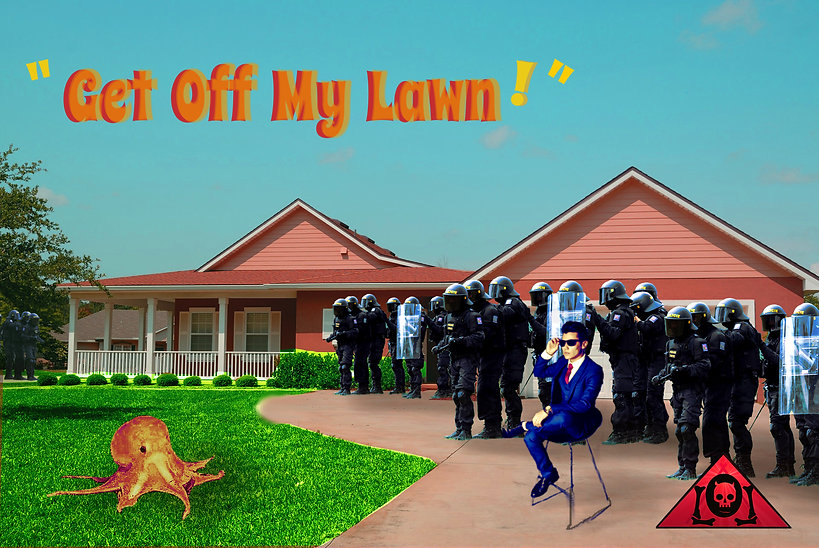The Lowest of Low Get Off My Lawn Lyrics Sheet Empire music album art image suburbia octopus businessman riot gear