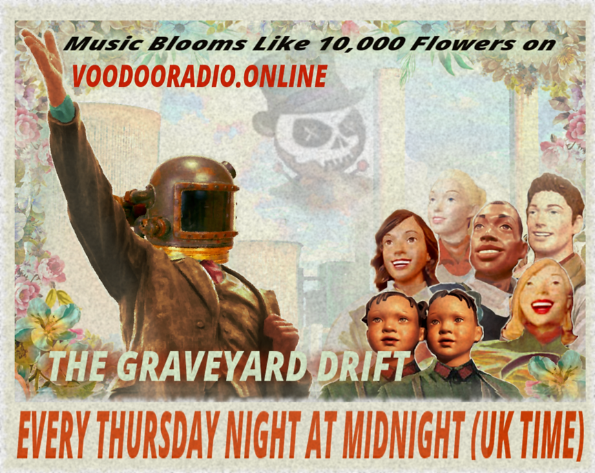 10,000 Flowers Bloom Graveyard Drift Voodoo Radio Promo soviet revolutionary art poster Chinese Russian Old Navy Leninist Stalinist Maoist style parody The Lowest of Low podcast