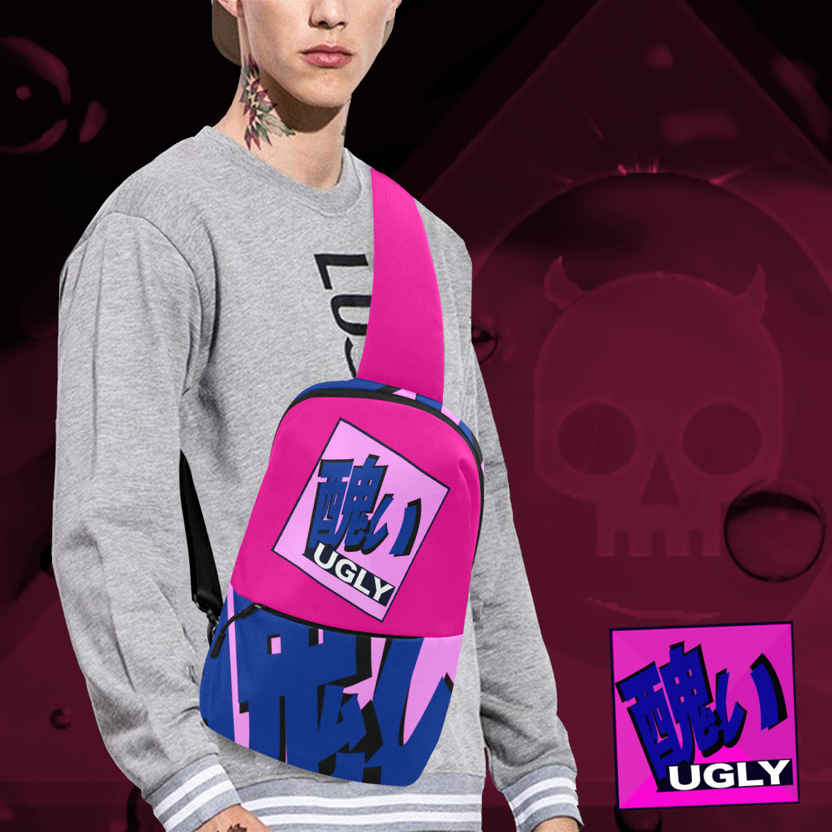 UGLY Logo Chest Bag The Lowest of Low Bubblegum