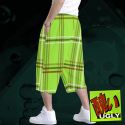 UGLY tartan long baggy shorts The Lowest of Low Lime