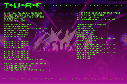T.U.R.F. Lyrics The Unified Robotic Front The Lowest o Low music song album Mecha Robot Future WOW dystopia science fition storytelling experimental indie musical artwork song sheet