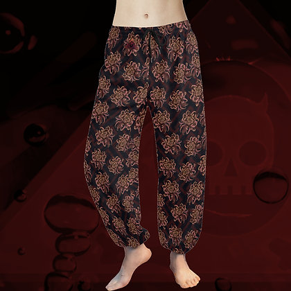 Rose Gold Chrysanthemum Pattern floral tai chi yoga harem pants comfortable elegant chiffon trousers The Lowest of Low front
