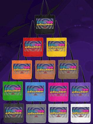 FutureRetro Electro Records Logo Reusable Cloth Tote Bags Rainbow of colors shopping beach picnic school