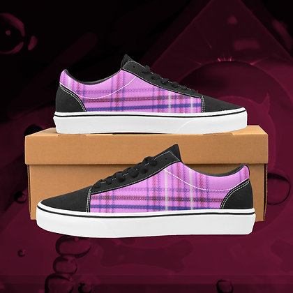 Bubblegum pink UGLY Tartan plaid  Low Top Skate Skateboarding Casual Shoes All Gender The Lowest of Low