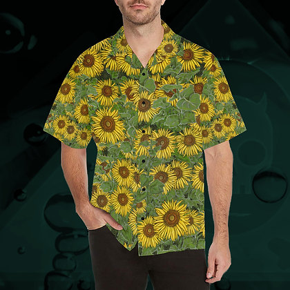 The Lowest of Low Sunflower Field pattern hawaii hawaiian shirt all-over print Japanese style fashion top front view
