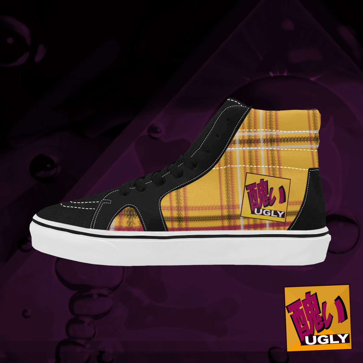 UGLY tartan high top skate shoes The Lowest of Low Tang