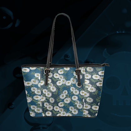 The Lowest of Low Daisies all-over print PU Leather Tote gym school everyday overnight bag Peacock